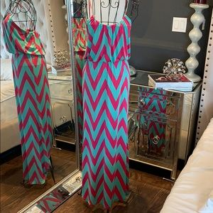 Chevron design maxi dress